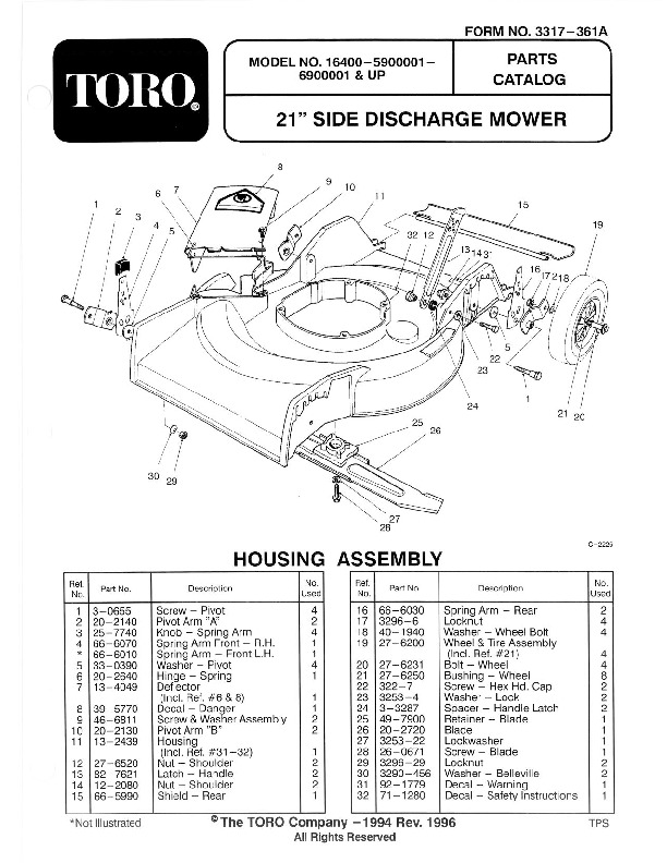 Toro 16400 16401 21-Inch Lawn Mower Owners Manual, 1996