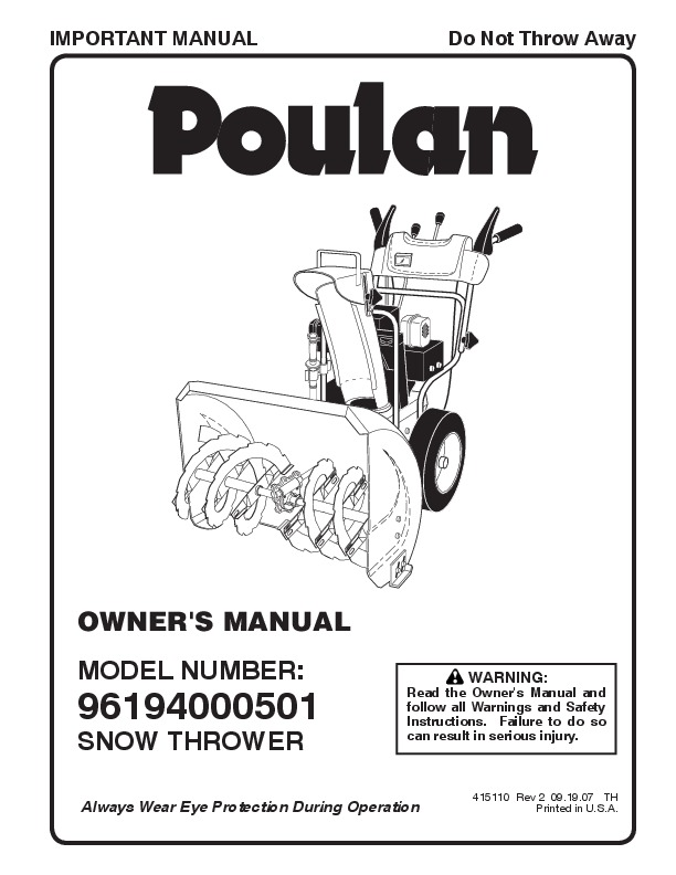 Poulan 96194000501 415110 Snow Blower Owners Manual, 2007
