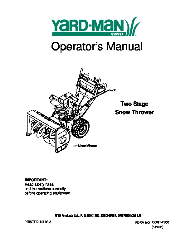 MTD Yard Man Two Stage Snow Blower Owners Manual