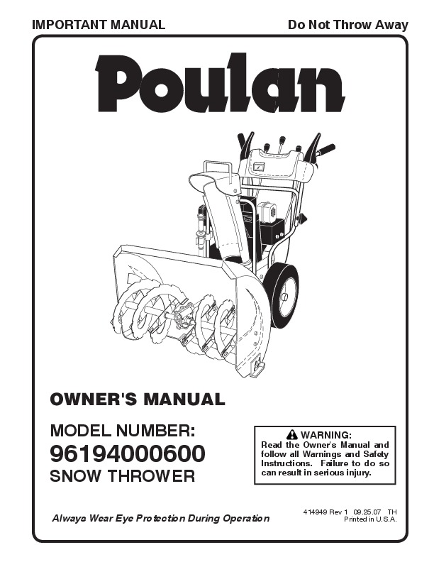Poulan 96194000600 414949 Snow Blower Owners Manual, 2007