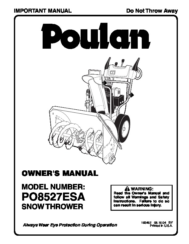 Poulan PO8527ESA 193452 Snow Blower Owners Manual, 2004