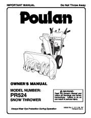 Poulan PR524 199350 Snow Blower Owners Manual, 2006