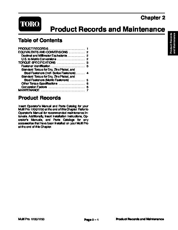 Toro 03112SL Rev B Service Manual Multi Pro 1200 1250