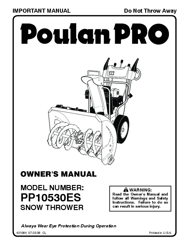 Poulan Pro PP10530ES 421064 Snow Blower Owners Manual, 2008