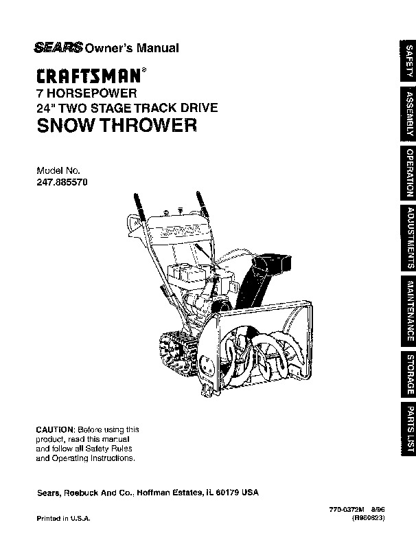 Craftsman 247.885570 24-Inch Snow Blower Owners Manual