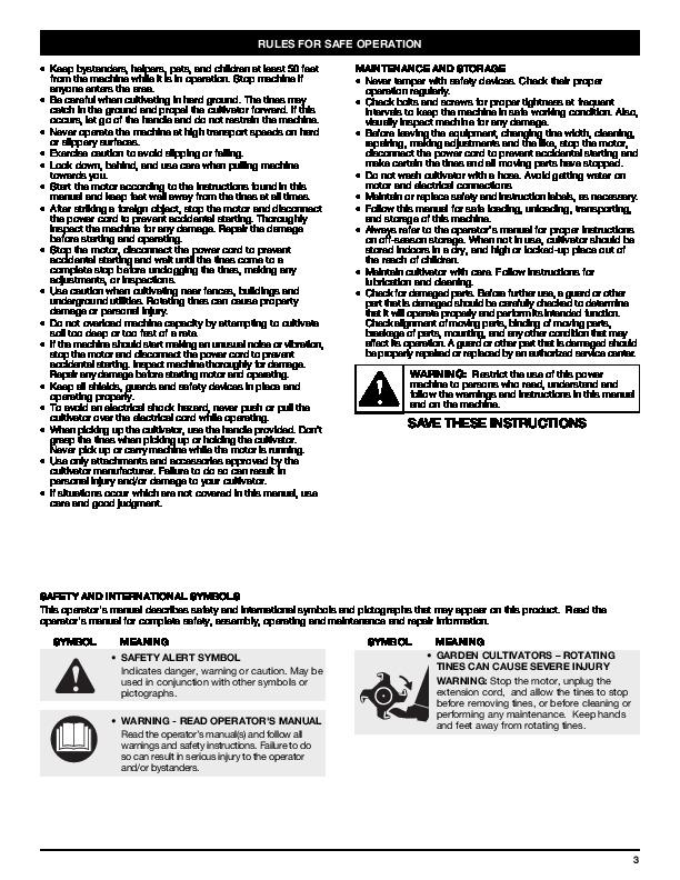 MTD TB154 Electric Gardern Cultivator Lawn Mower Owners Manual