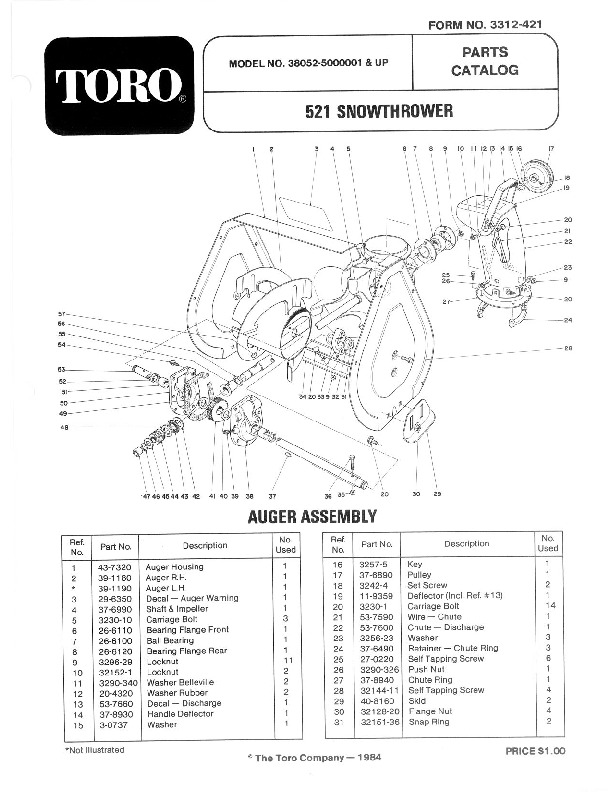 Toro 38052 521 Snowblower Manual, 1985