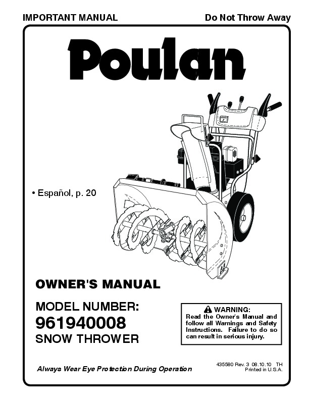 Poulan 961940008 435580 Snow Blower Owners Manual, 2009