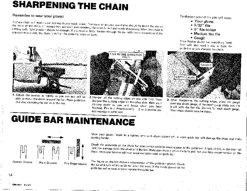 Poulan Micro 25 XXV Chainsaw Owners Owners Manual, 1981