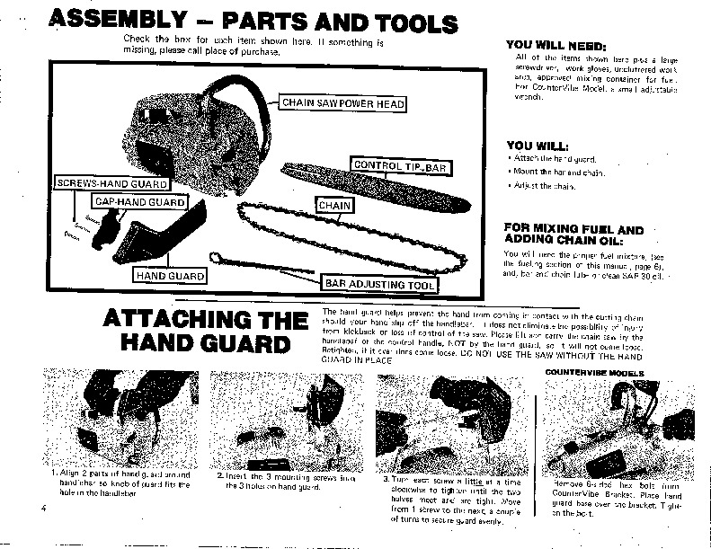 Poulan Micro 25 XXV Chainsaw Owners Manual, 1981