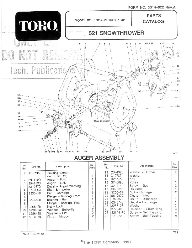 Toro 38052 521 Snowblower Manual, 1992