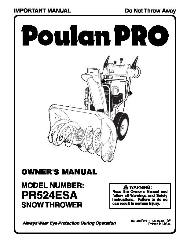 Poulan Pro PR524ESA 192039 Snow Blower Owners Manual, 2004
