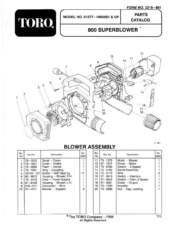 Toro 51577 800 Super Blower Manual, 1994