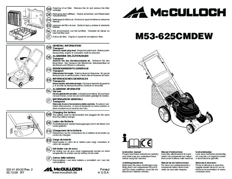 McCulloch M53 625 CMDEW Lawn Mower Owners Manual, 2009