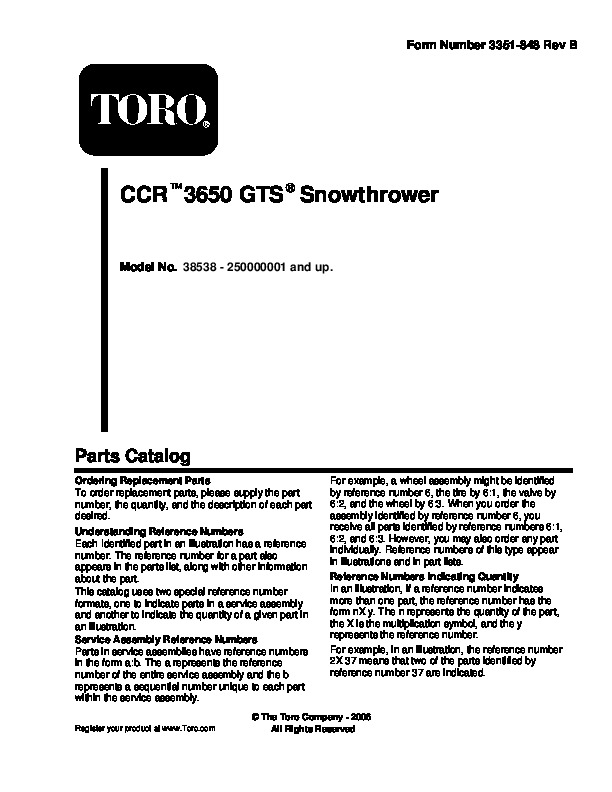 Toro CCR 3650 GTS 38538 Snow Blower Parts Manual, 2005