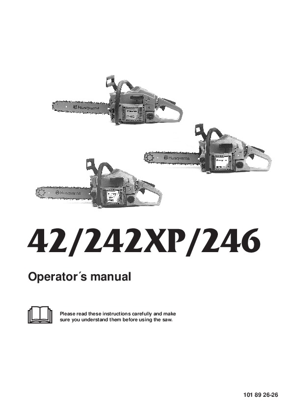 Husqvarna 42 242XP 246 Chainsaw Owners Manual, 1999,2000,2001