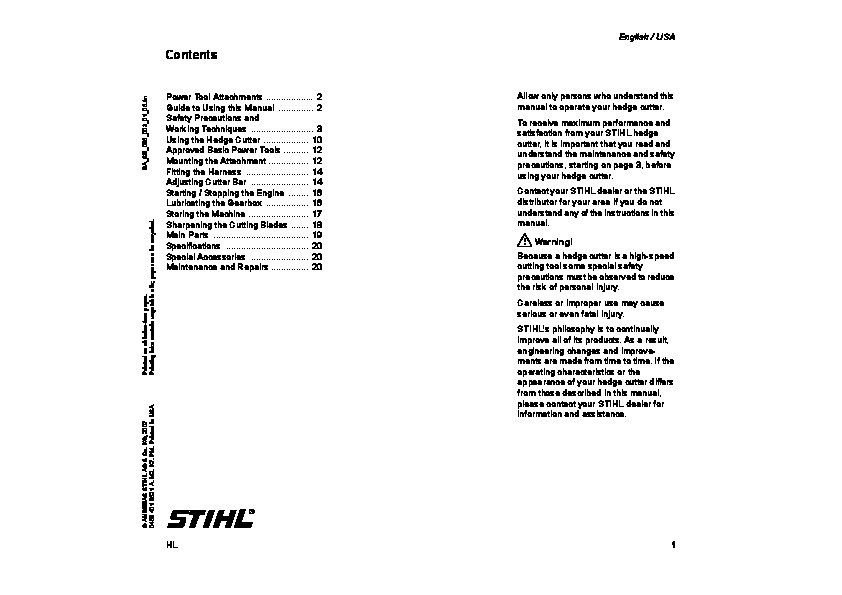 STIHL HL Hedge Trimmer Owners Manual