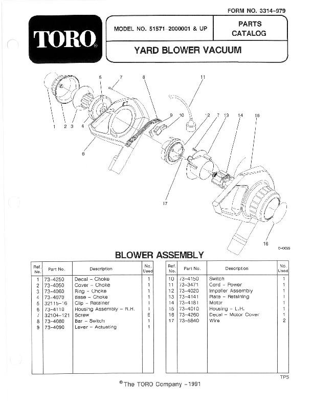 Toro 51571 Yard Blower Vac Manual, 1992-1993