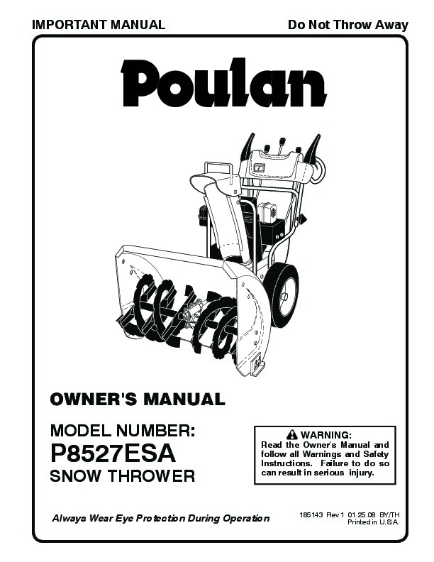 Poulan P8527ESA 185143 Snow Blower Owners Manual, 2008