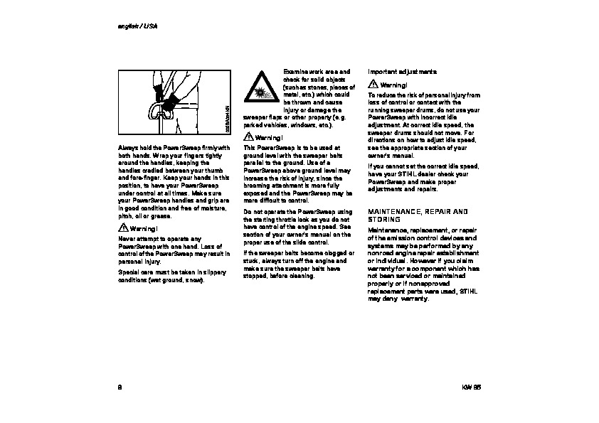 STIHL KW 85 Power Sweep Owners Manual
