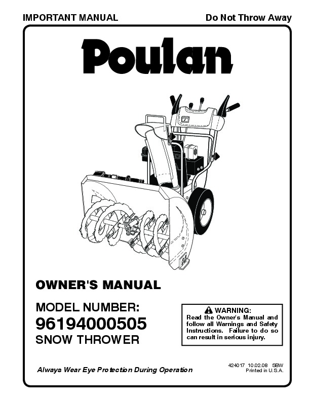 Poulan 96194000505 424017 Snow Blower Owners Manual, 2008