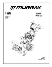 Murray Walk Behind 1695722 Snow Blower Parts Manual