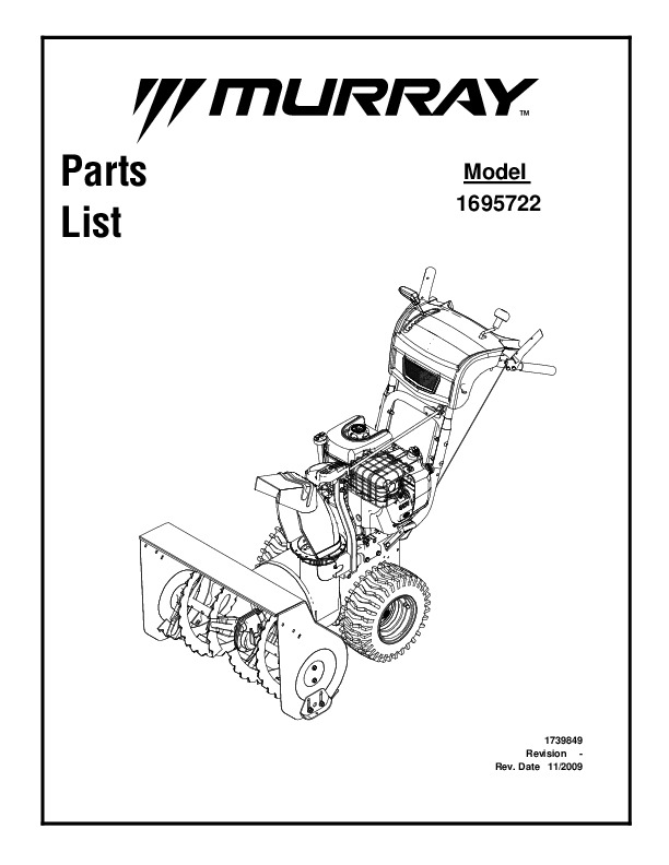 Murray Walk Behind 1695722 Snow Blower Parts Manual