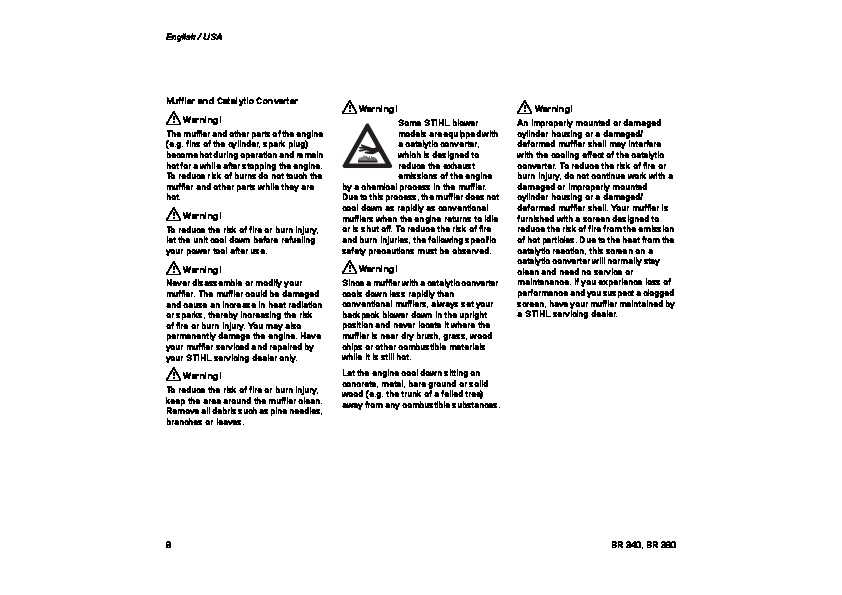 STIHL BR 340 380 Blower Vacuum Owners Manual