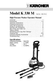 Kärcher K 330 M Electric Power High Pressure Washer Owners