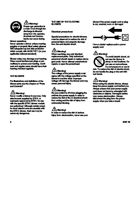 STIHL BGE 60 Blower Owners Manual