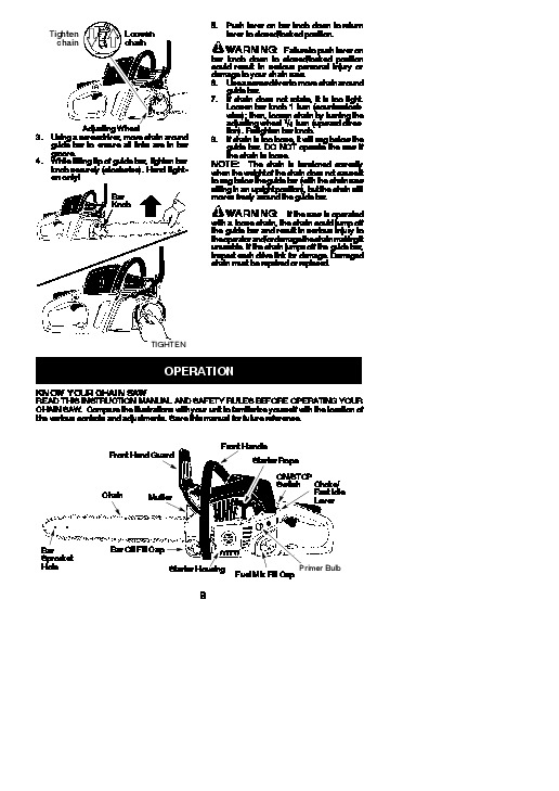 Poulan Pro SM4218AVX Chainsaw Owners Manual, 2010