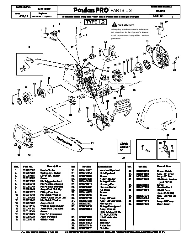 Poulan Pro PP4018 Chainsaw Parts List, 2006