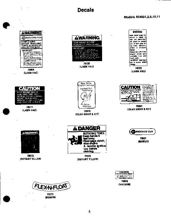 Ariens Sno Thro 834 Series Snow Blower Parts Manual