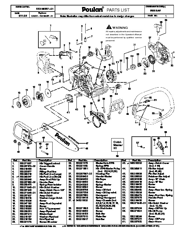 2005 Poulan Pro P3818AV Chainsaw Parts List