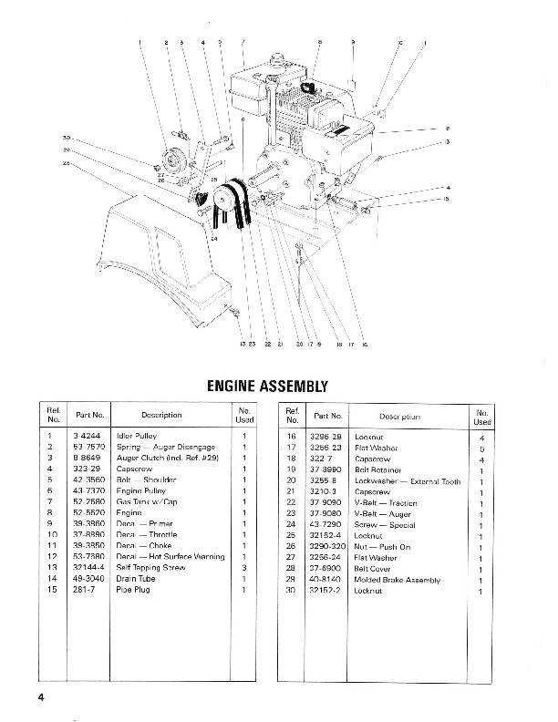 Toro 38052 521 Snowblower Manual, 1986
