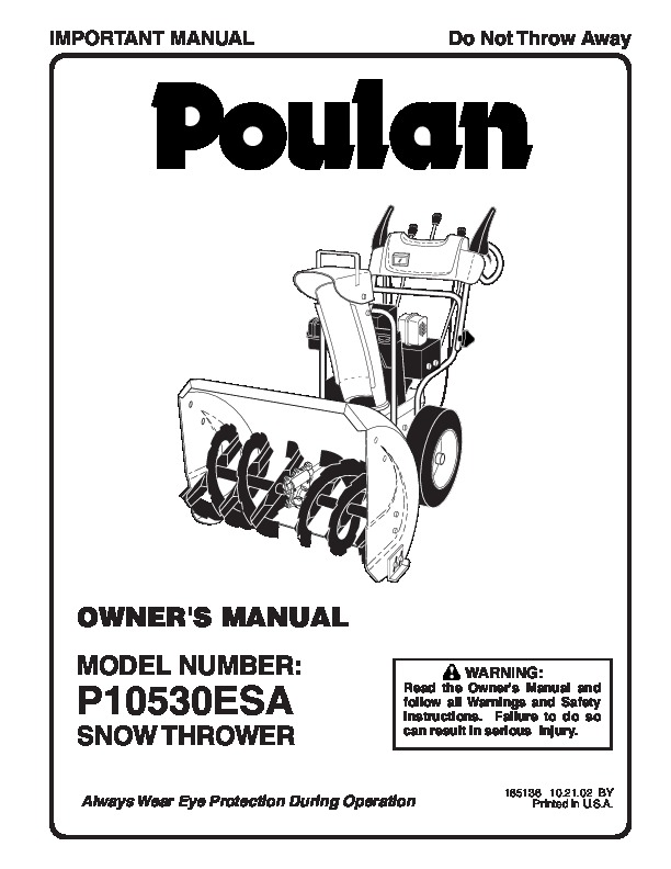 Poulan P10530ESA Snow Blower Owners Manual, 2002