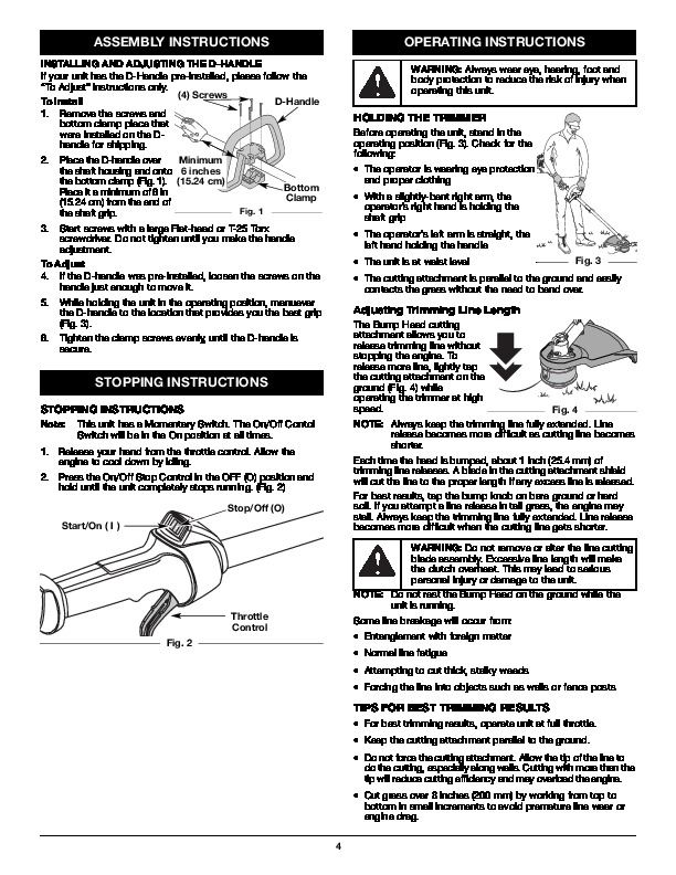 MTD Pro H70SS 4 Cycle Trimmer Lawn Mower Owners Manual