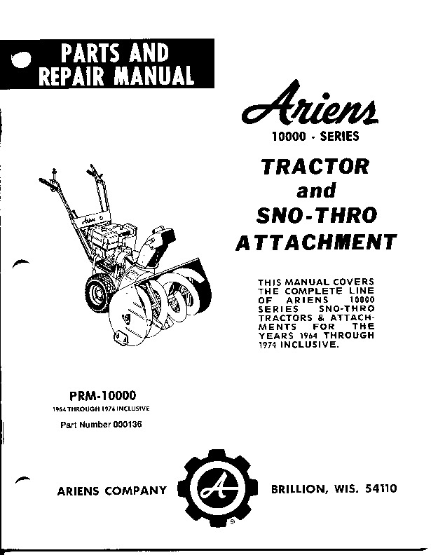Ariens Sno Thro 10000 Series Snow Blower Parts Manual