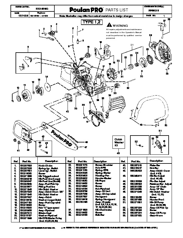 2006 Poulan Pro PPB4018 Chainsaw Parts List