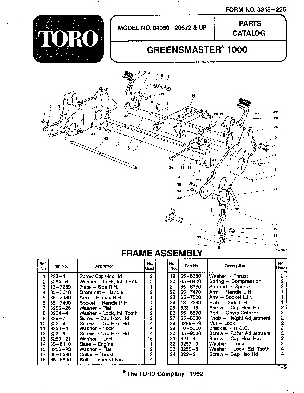 Toro 04050 Greensmaster 1000 Lawn Mower Parts Catalog, 1992