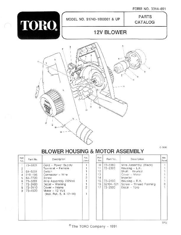 Toro 51740 Mini Blower Manual, 1990-1992