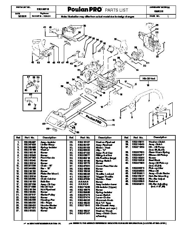 2008 Poulan Pro SM4018 Chainsaw Parts List