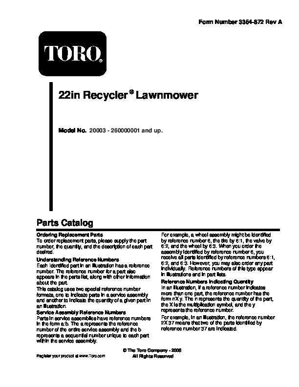 2005 Toro 20003 22-Inch Recycler Lawn Mower Parts Catalog