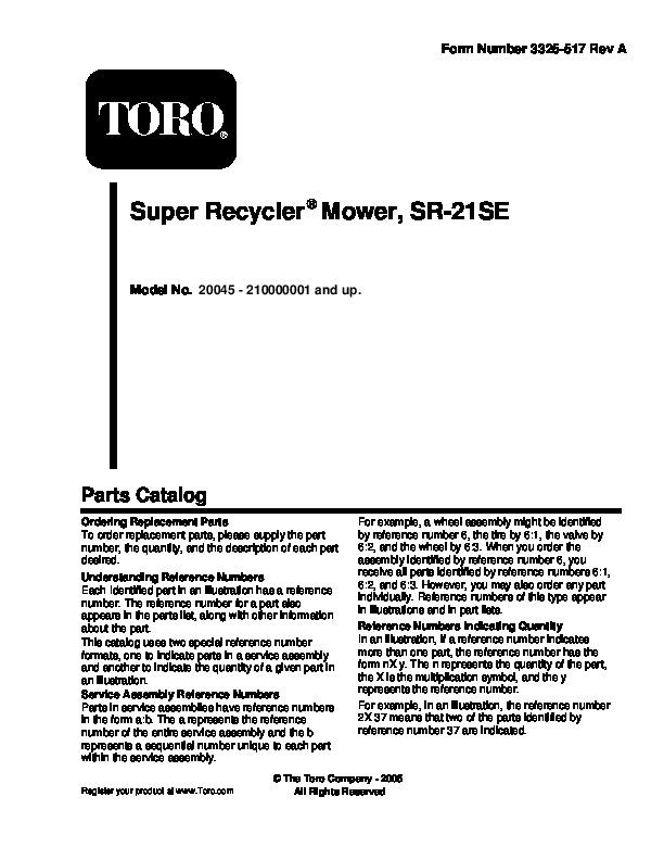 Toro 20045 20048 21-Inch Super Recycler SR 21OS Lawn Mower