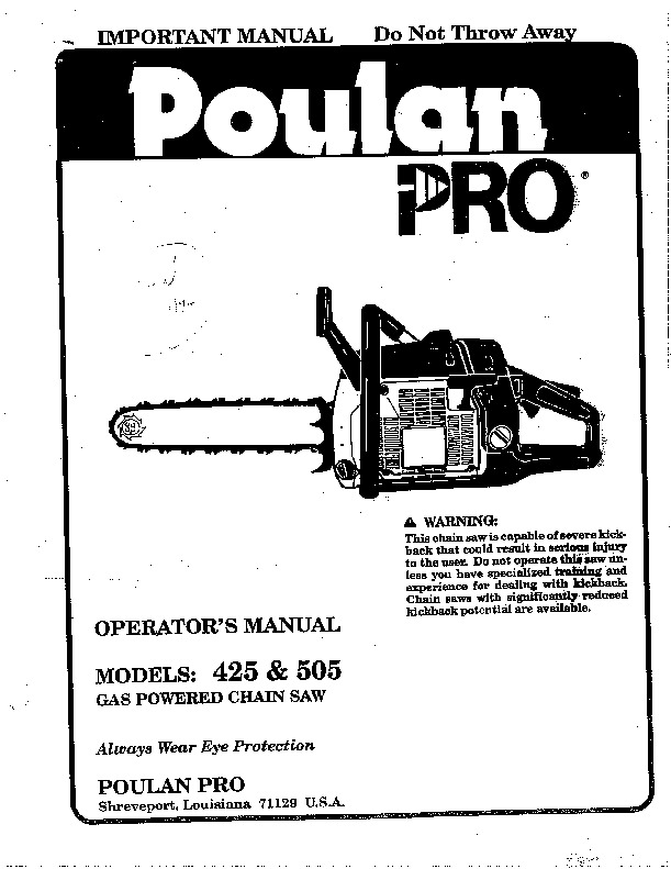 Poulan Pro 425 505 Chainsaw Owners Manual, 1994
