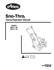 Ariens Sno Thro 938015 322 938016 522 Snow Blower Owner Manual