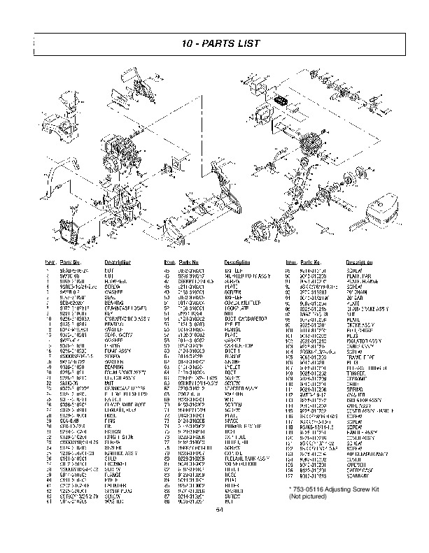 McCulloch Mac FS50 Chainsaw Service Parts List