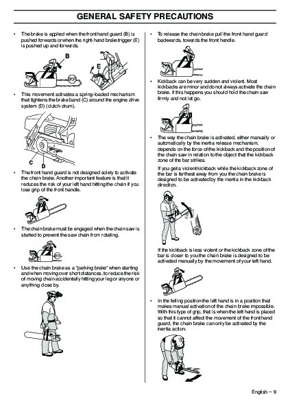 Husqvarna 345e 346XP 353 TrioBrake Chainsaw Owners Manual