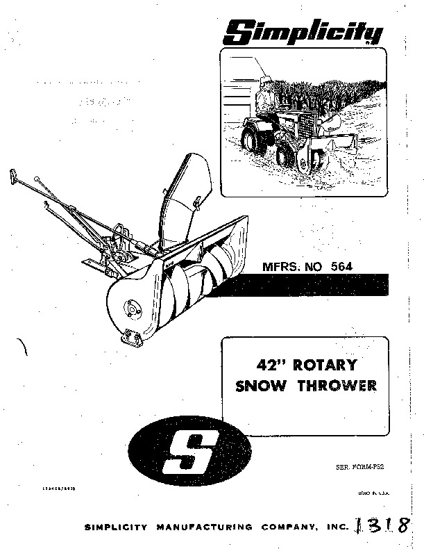 Simplicity 564 Snow Blower Owners Manual
