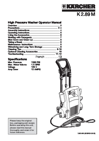 Kärcher K 2.89 M Electric Power High Pressure Washer